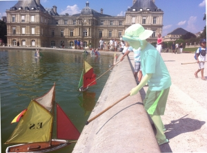 Little Boo sailing boats in Luxembourg Gardens, Paris.